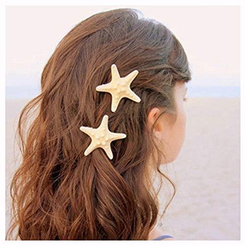 Aluinn Starfish Hair Clip Boho Barrettes Lovely Mermaid Beach Hair Hairpin Jewelry for Women and Teen Girls Set of2