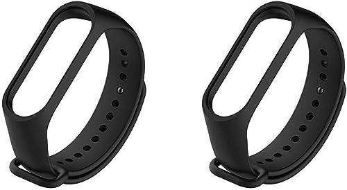 Liddu Wristband Band Straps for Xiaomi Mi 3 & Mi4 Bands (Combo Pack, Pack of 2) (Black, Black, Xiaomi Mi Band 3)