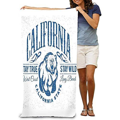 Yocmre Toalla de Playa Grande, Toalla Suave con diseño único California Republic Vintage Typography Grizzly Bear Print