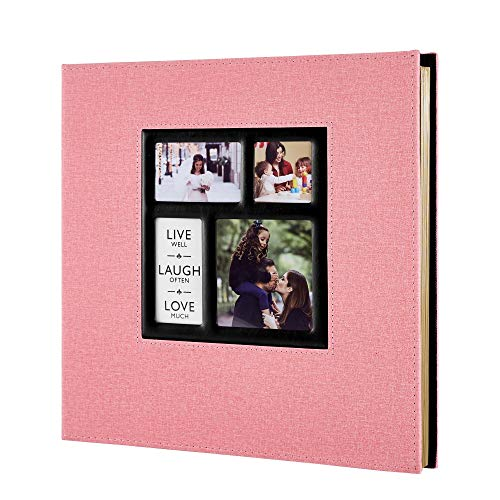 Benjia Album Photo Traditionnel Adhesif, Grand Format Vierge Autoadhesif Tissu avec Autocollant Stylo pour 10x15 11.5x15 13x18 (50 feuilles / 100 pages, Rose)