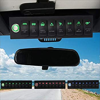 Voswitch Overhead 8-Switch Pod/Panel with Control and Source Box Green Backlight Compatible with Jeep Wrangler JK JKU 2007-2018