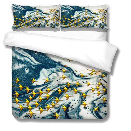 ZGSSSSS 3 Pieces Duvet Cover King Size 3D Abstract Sky Birds Duvet Cover Set with 2 Pillowcases 80x80cm Easy Care with Zipper Bedding Quilt Cover for Teen and Adults Bedroom Decro 260x220cm