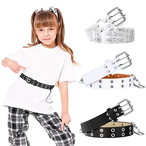 3 Pieces Kids Double Grommet Belts with Holes PU Leather 2-Row Grommet 3 Colors Adjustable Waist Kids Belts for Girls Boys Jeans Dress
