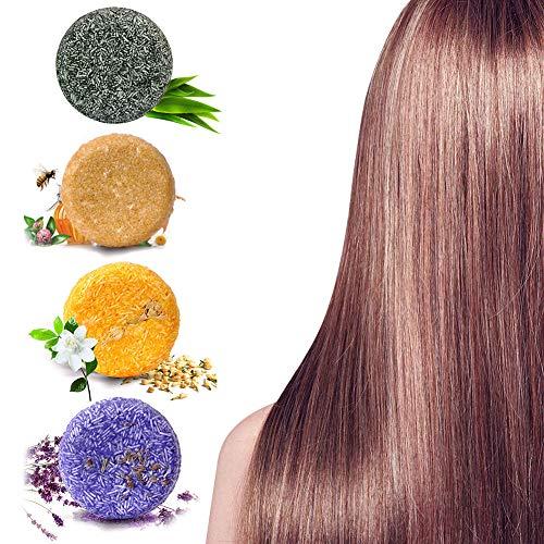 Barre de Shampooing Solid Shampoo pour Cheveux 4 pcs Shampoo Barre Végétalienne Plant Essence Shampoo pour cheveux gras, cheveux secs et abîmés, Aide à lutter contre les pellicules