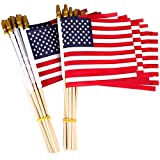 12 pack Small American Flags on Stick 5x8 Inch/ Mini American US Flags/ American Hand Held Stick Flags Spear Top (5x8 Inch-12 pack)