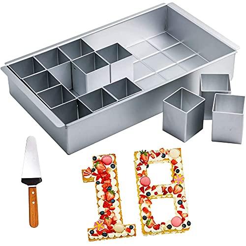 Numero Torta Padella,Set Teglia Componibile Lettere e Numeri,Teglia Rettangolare Tortiera,Stampo Regolabile per Torte,Stampo per Torte Regolabile