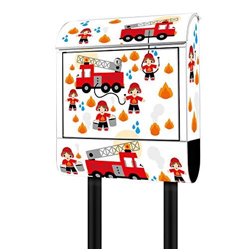 Banjado Design Briefkasten mit Motiv Feuerwehr | Stahl pulverbeschichtet mit Zeitungsrolle | Größe 39x47x14cm, 2 Schlüssel, A4 Einwurf, inkl. Montagematerial
