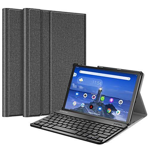 Fintie Funda con teclado para Lenovo Tab M10 FHD Plus/Smart Tab M10 FHD Plus 10,3 pulgadas TB-X606, funda fina con cierre magnético extraíble alemán QWERTZ Bluetooth Keyboard, color gris oscuro