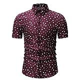 WYKDL Camisa de Collar de pie de Hombre, Camisa Casual del botón de la Camisa de la Camiseta de Chambray, Citas al Aire Libre,Marrón,XL