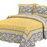 Newrara 100% Cotton Yellow Color with Flower Grey Quilt Set/Patchwork Quilt/Multifunction Bedspread/Bed Cover/Bedding Set /3pcs/Queen Size(230cm250cm)