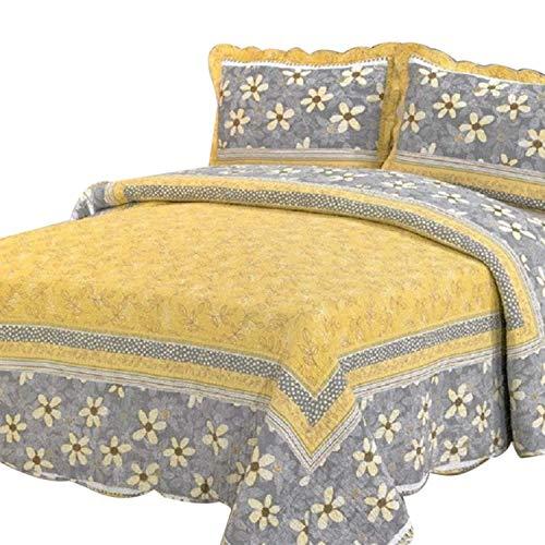 Newrara 100% algodón color amarillo con flor gris funda para edredón/Colcha de retales/colcha multifunción/cubierta de cama/juego de ropa de cama/juego/cama de tamaño Queen (230cm250cm)