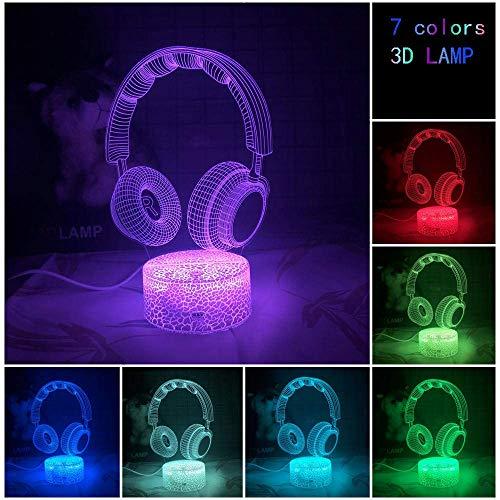 3D llevó la luz de la noche ilusión luz cabeza lámpara de mesa creatividad niño luminoso USB instrumento musical regalo decorativo cumpleaños regalos