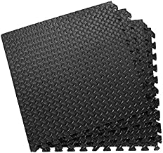 Tangkula 12 Pcs 48 Sq EVA Foam Floor Mats with Border, 3/8