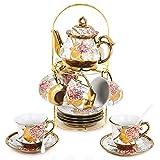DaGiBayCn 20 Piece European Ceramic Tea Set Coffee set Porcelain Tea SetWith Metal Holder,flower tea set Red Rose Painting,160ML/Cup,460ML/Pot (Large version).