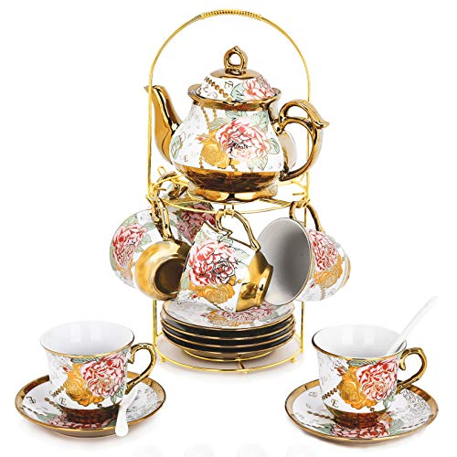 DaGiBayCn 20 Piece European Ceramic Tea Set Coffee set Porcelain Tea SetWith Metal Holder,flower tea set Red Rose Painting,160ML/Cup,460ML/Pot.(Large version)
