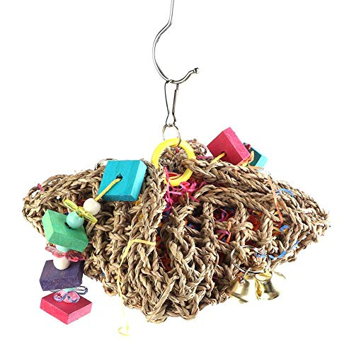 HEEPDD Parrot Toys Bird Hanging Straw Foraging Shredding Climbing Chewing Toy for Macaw African Grey Budgie Parakeet Cockatiels Conure Cockatoo Lovebird