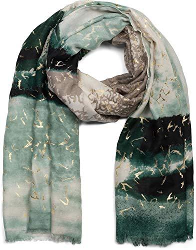 styleBREAKER chal de mujer con motivo a rayas en estilo batik con estampado metálico y deshilachados, estola, pañuelo 01017107