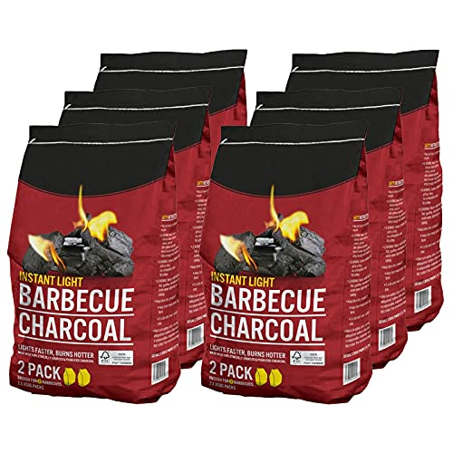 AMOS Instant Light Barbecue Charcoal 12 x 850g BBQ Grill Coal Bags