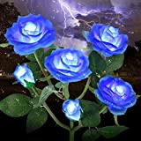 Outdoor Solar Garden Stake Lights,Upgraded LED Solar Powered Light with 6 Rose Flowers, Waterproof Solar Decorative Lights for Patio Pathway Courtyard Garden Lawn(Blue)