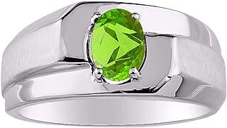 خاتم رجالي من RYLOS مرصع بأحجار كريمة سوليتير بيضاوي الشكل من الفضة الإسترلينية 925-7X5 مم خواتم حجر المولد الملون