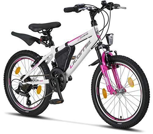 Licorne Bike Guide Premium Mountainbike in 26 Zoll - Fahrrad für Mädchen, Jungen, Herren und Damen - Shimano 21 Gang-Schaltung - Weiß/Rosa