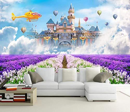 Fotobehang 3D kasteel lavendel wandafbeeldingen vliesbehang wandbehang wandschilderij Wall Mural Wallpaper modern design wanddecoratie voor slaapkamer woonkamer kinderkamer 400 x 280 cm.