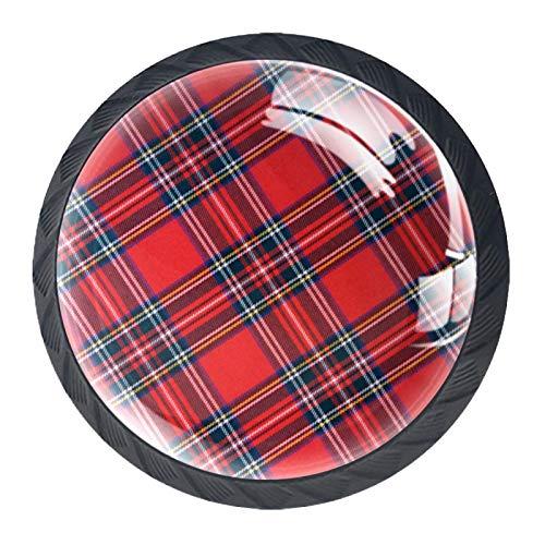 Juego de 4 pomos redondos para muebles de Royal Stewart Tartan, cajones y aparadores, tiradores para el hogar y la cocina