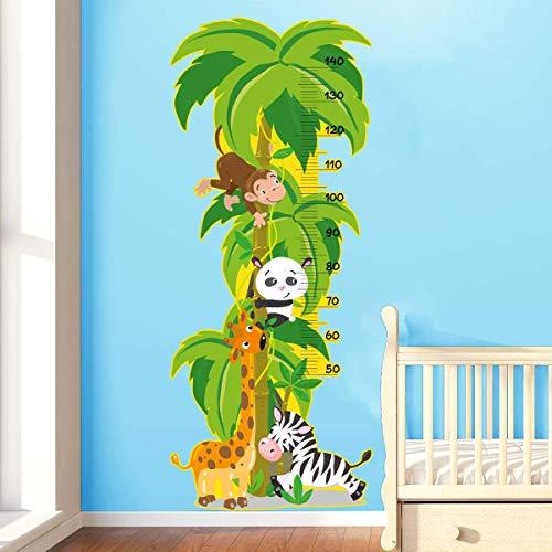 Stickers adhésifs Toise | Sticker Autocollant animaux de la jungle - Décoration murale chambre enfants | 145 x 60 cm