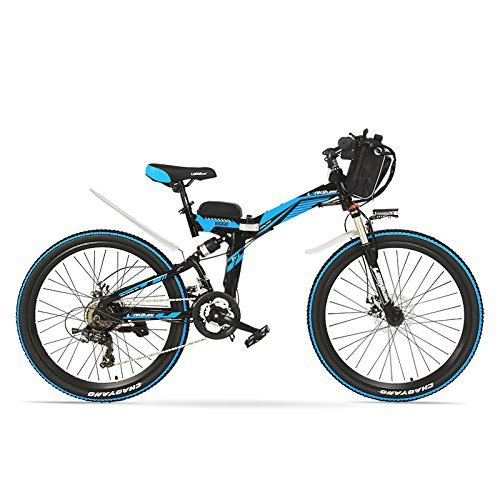 LANKELEISI K660 24 Pollici, Bicicletta elettrica Pieghevole 48V 240W, Sospensione Completa, Freni a Disco, Bici elettrica, Mountain Bike. (Nero Blu, Standard)