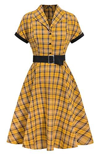 Vestido de Cóctel Fiesta Mujer Verano Años 50 Vintage Rockabilly Sin Mangas/Manga Corta Pin Up Elegante Amarillo S
