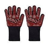 Hyunshuo Grillhandschuhe BBQ Handschuhe Ofenhandschuhe Hitzebeständige Grill Lederhandschuhe Backhandschuhe MEHRWEG