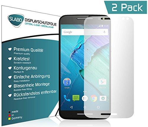 2 x Slabo Bildschirmfolie für Motorola Moto X Style Bildschirmschutzfolie Zubehör (verkleinerte Folien, aufgr& der Wölbung des Bildschirms)