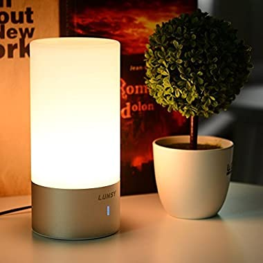 LUNSY Bedside Touch Lamp, Dimmable Warm White Light and Color Changing RGB Table Lamps for Living Room & Bedroom