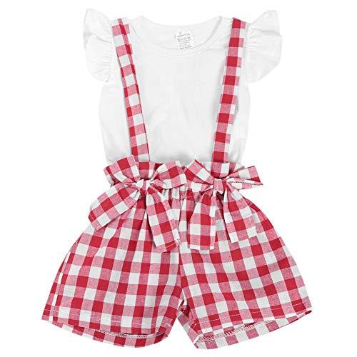 2 Stücke Säuglings Sommer Plaid Overall Rüschen Kurzarm T Shirt Hosenträger Rock Kleid Outfits Set für Baby Mädchen(100)