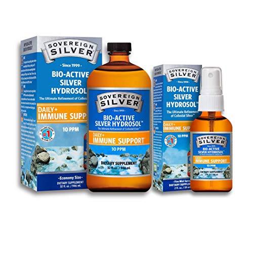 Sovereign Silver Bio-Active Silver Hydrosol for Immune Support - 10 ppm, 32oz (946mL) - Economy Size – Plus 2 oz fine Mist Spray