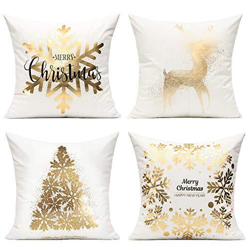 All Smiles Gold Decorations Christmas Cushion Covers White Gold Décor Xmas Decorative Pillow Cases Set of 4 for Sofa Home Bed,Christmas Snowflakes Tree Deer