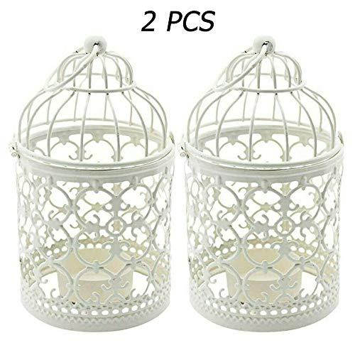 Wuudi 2PCS Kerzenhalter Vogelkäfig Vintage-Stil klassischer europäischer Stil Kerzenständer Laternen Hohle Hängend Kerzenhalter Hochzeit Tischdekoration