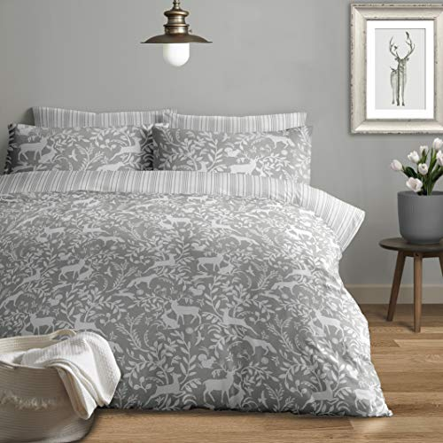 Jansons Direct Linens 100% Brushed Cotton Woodlands Theme Design Duvet Cover Set Double Bed Size in Grey Reversible