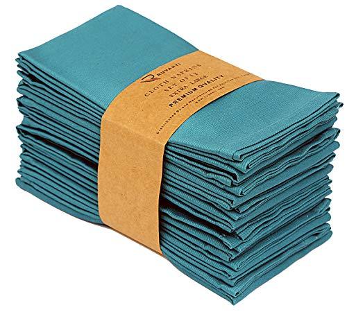 Ruvanti Baumwollservietten, 12 Stück, Stoffservietten, weich und angenehm, Deluxe-Hotelqualität, Leinen-Servietten – perfekte Tischservietten für Familienessen, Hochzeiten 18*18 blaugrün