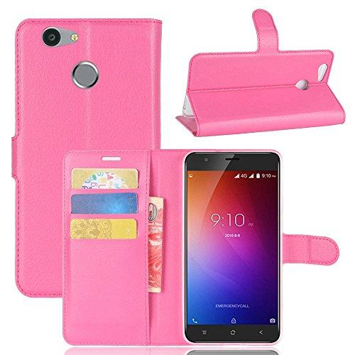 Owbb Hülle für Blackview E7 Ultra Schlanke Handyhülle Premium PU Ledertasche Flip Cover Wallet Case mit Stand Function Innenschlitzen Design Rose Red