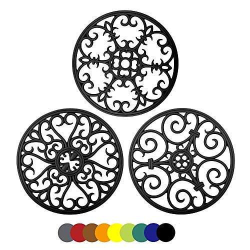Silicone Trivet Mat - Hot Pan Holder,Kitchen Heat Resistant Pads for Hot Dishes.Trivets for Counter Table Round Non-Slip Silicone Carved Mats Countertop Pot Protector Set of 3