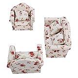 Dilwe Puppenhaus Sofa, 1/12 Skala Puppenhaus Zubehör Blumenmuster Mini Möbel Sofa Set mit Rückenkissen(#1)