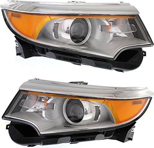 Evan-Fischer Headlight Set Compatible with 2011-2014 Ford Edge Left Driver and Right Passenger Side Halogen With bulb(s)