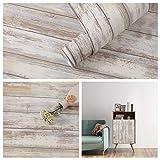 Arthome Papel de madera envejecido gris de 43,5 × 305 cm, autoadhesivo extraíble para pelar y pegar para madera