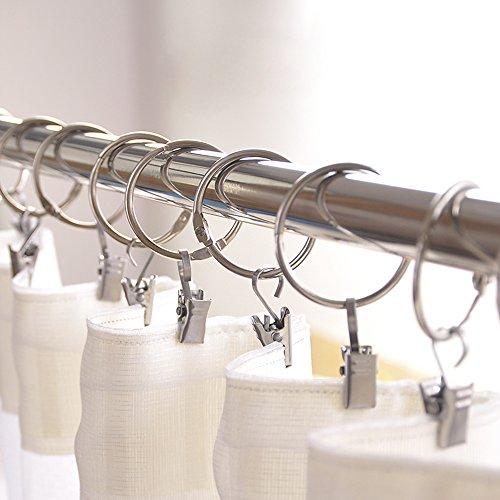 Vorhangringe mit Clipper,20 Stück Edelstahl Vorhangringe-Set Vorhang Clip Gardinenstange Gardinenringe Vorhangringe mit Clips,30mm Durchmesser