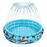 iBaseToy Kiddie Pool - Sprinkler Pool with Inflatable Soft Floor for Kids Toddlers, Baby Wading Swimming Pool Paddling Pool for Outside, Garden, Backyard Play - Splash Pad Water Toys for Boys & Girls