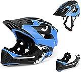 BMX Casco Infantil Integral para Ciclismo Enduro. Totalmente Ajustable con Mentoner Desmontable. Tamaño Ajustable Entre 48-58 cm (Azul, 52-56cm)