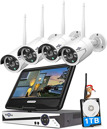 "[8ch expandable] hiseeu all in one with 10. 1"" monitor wireless security camera system,8ch wireless home security camera system,4pcs 1080p indoor/outdoor security camera,remote view,1tb hard drive"