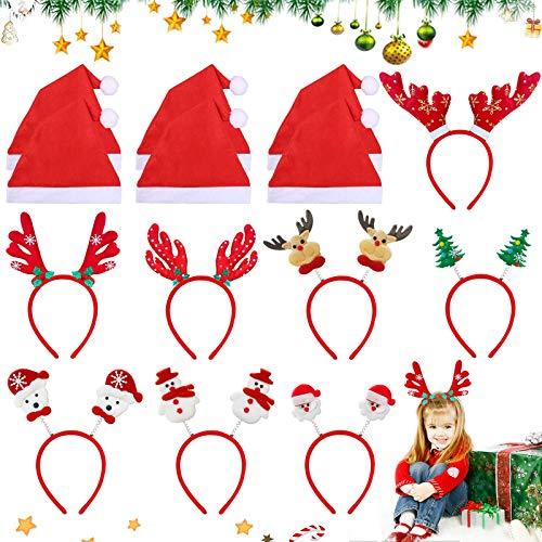 8 Cinta para la frente de Navidad + 6 gorro navideño, Diadema de árbol de Navidad, Diadema navideña,Diadema navideña para mujer, Decoración Cabello De Fiestas Navideñas,cinta para el pelo navideña (B)