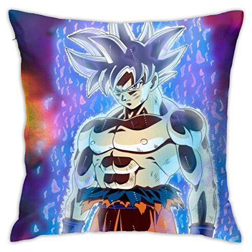 Lucky Home Funda de cojín de algodón con diseño de dragón azul Goku de Anime para salón, sofá, cama, suave, 45 x 45 cm